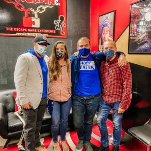 We made it out! Escape room fun with friends Megan and Mike on Long Island