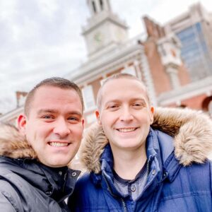 Posing in front of Independence Hall in Philadelphia, PA