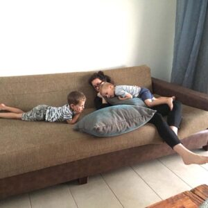 Watching cartoons and cuddling with my nephews