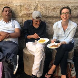 Eating dessert with my friend Farea in Jordan